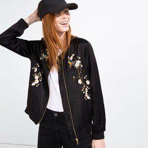 ZARA WOMAN Satin Embroidered Zip Jacket #J01